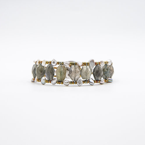 Ziio Silver Bracelet with Labradorite and Freshwater Pearls