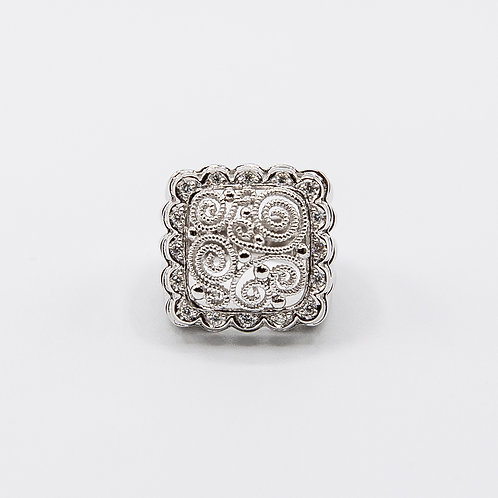 Diamond White Gold Ring Engraved with Ancient Etruscan Workmanship