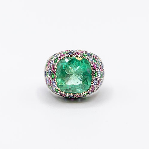 Fantasy Ring in White Gold with 8.73ct Beryl and Multi-Coloured Gem Stones