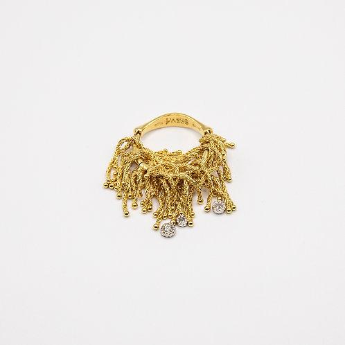 Orlando Orlandini Fringed 18k Yellow Gold Ring with Diamonds