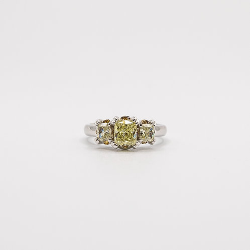 Natural Fancy Coloured Emerald-Cut Diamond Trilogy Ring