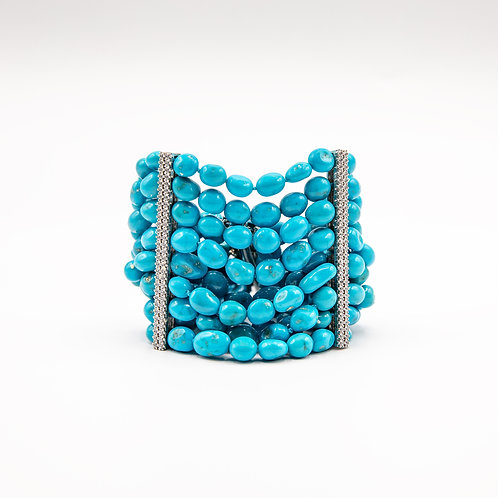 Bracelet with Natural Turquoise and Silver Barrette Closure