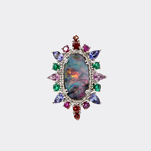 Boulder Opal Ring in White Gold with Diamonds and Multi-Coloured Gems