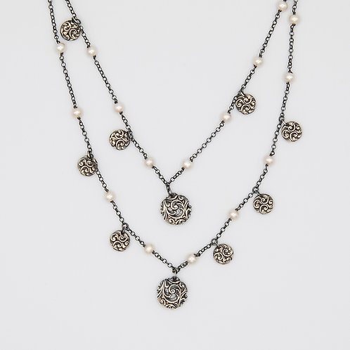 Layered Rhodium-Plated Silver Necklace with Hand Engraved Pads and Pearls