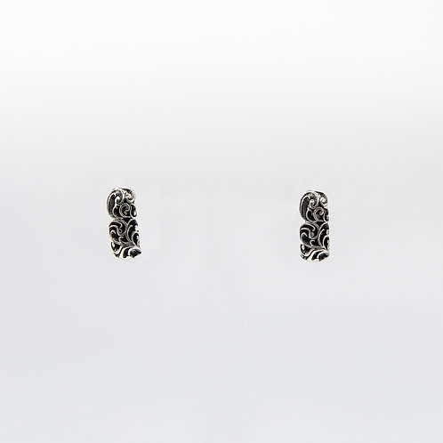 Hand Engraved Black Rhodium-Plated Silver Earrings