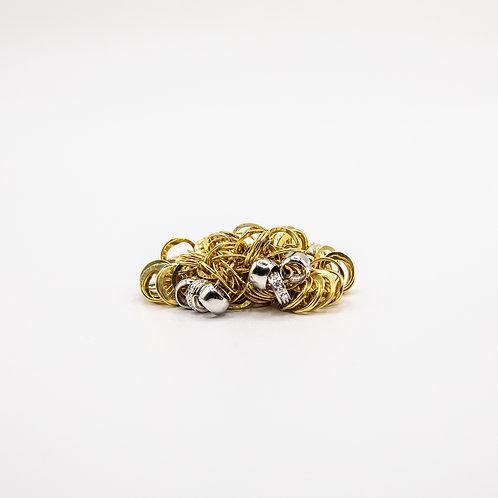 Orlando Orlandini 18k Yellow Gold Hoop Ring with Sparkling Diamonds