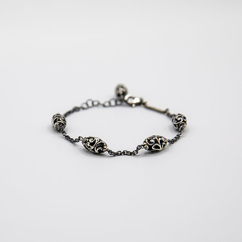 Hand Engraved Black Rhodium-Plated Silver Chain Bracelet with 4 Shiva Lingams
