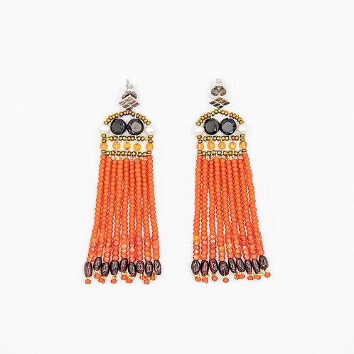 Ziio Orange Fringe Earrings with Carnelian, Spinel, Garnet, and Murano Glass