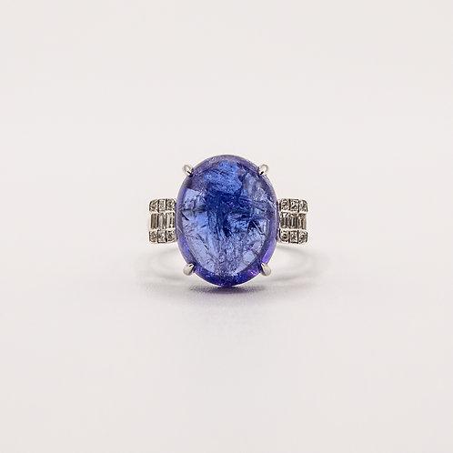 14.19 ct Tanzanite Cabochon Ring with Illusion Setting Diamond