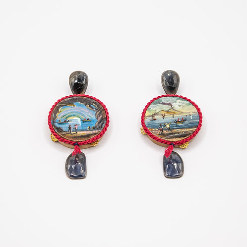 Amlé Hand Painted Neapolitan Tambourine Earrings with Flat Sapphires