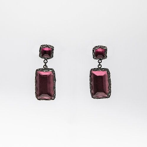 Yvone Christa Hand-Crafted Pink Quartz Earrings in Black Rhodium-Plated Silver