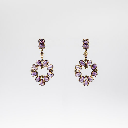Gold Laminated 925 Silver Earrings with Light Purple Zircons