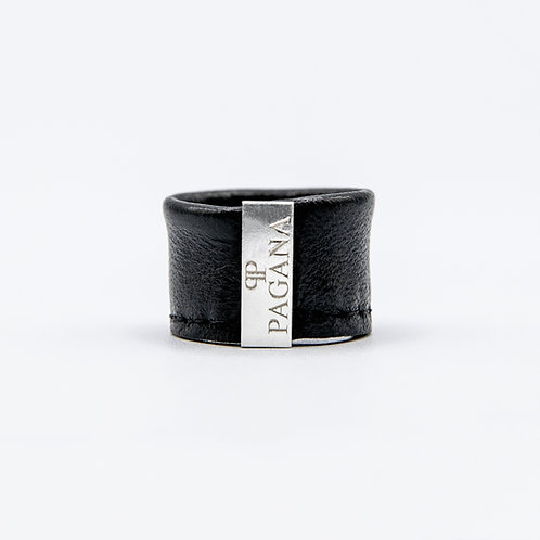 Genuine Leather Ring with Pagana Silver Plaque