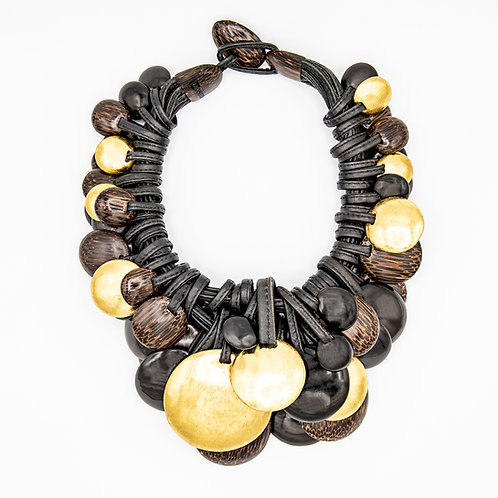Monies Leather Necklace with Ebony and Gold Foil