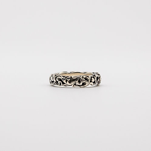 Hand Engraved Black Rhodium Silver Band with Floral Motifs