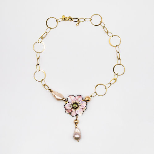 Gabriella Rivalta Necklace with Hand-Painted Flower and Baroque Pearls
