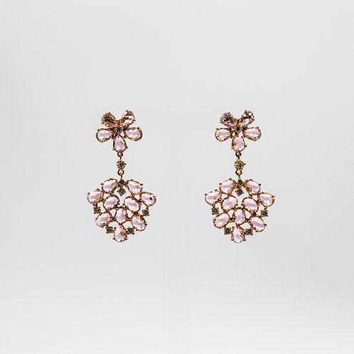 Gold Laminated 925 Silver Floral Earrings with Light Pink Zircons