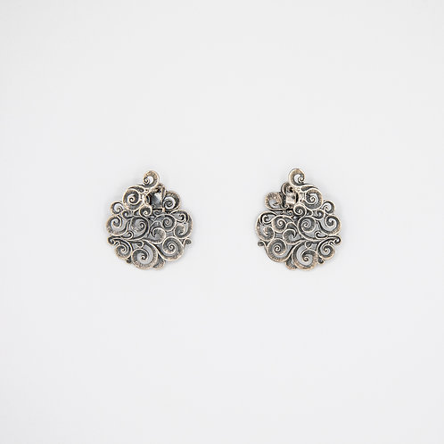 Flat Earrings in Black Rhodium-Plated Silver with Floral Motifs