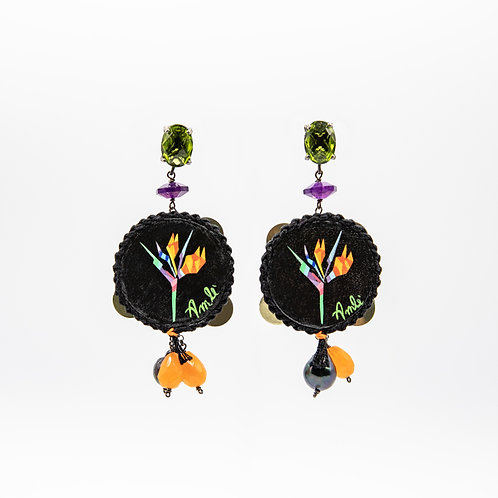 Amlé Hand Painted Neapolitan Tambourine Earrings