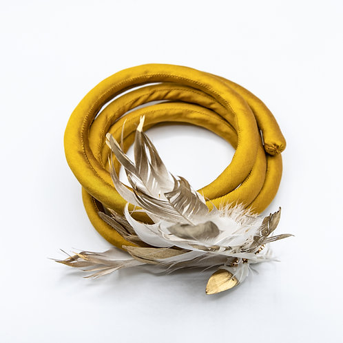 Pagana Atelier Boa Necklace with Feather and 18k Yellow Gold-laminated Silver