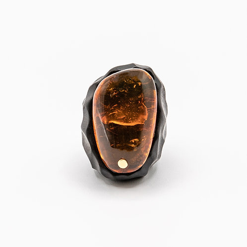 Handmade Ebony Ring with Central American Amber