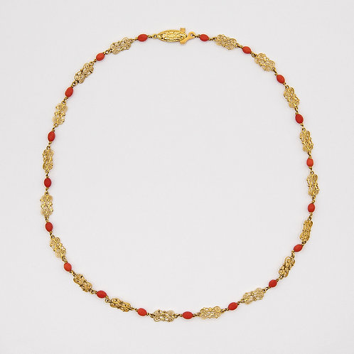 Hand-Engraved 18k Yellow Gold Choker Necklace