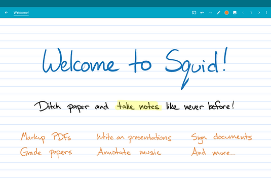 Welcome to Squid! Ditch paper and take notes like never before! Markup PDFs, write on presentations, sign documents, grade papers, annotate music, and more...
