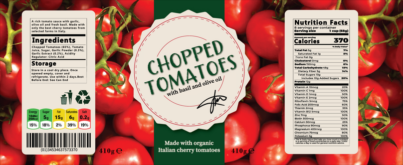 TINNED TOMATOES LABEL