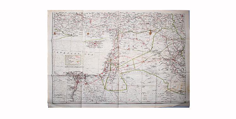 British RAF Silk Escape Map WWII Middle East