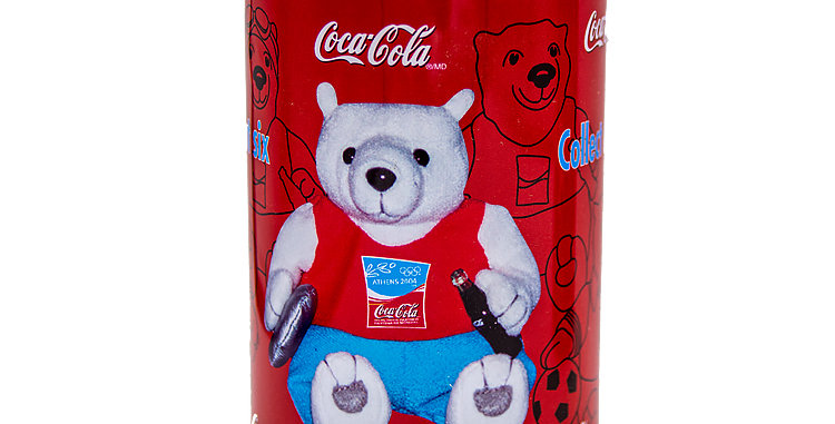 Coca Cola Bears in a Coke Can Dicus Bear 2004 Olympics