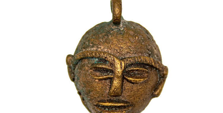 Indigenous Art Native Mask Brass or Bronze Small Pendant Ornament