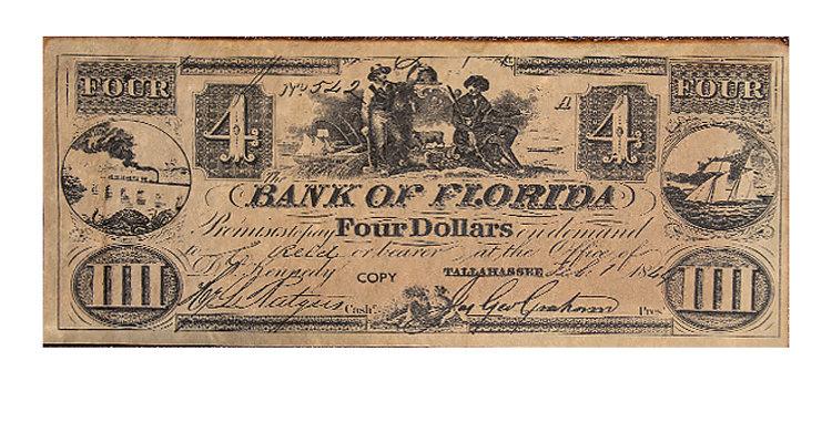 Bank of Florida  4 Dollars  Note Replica