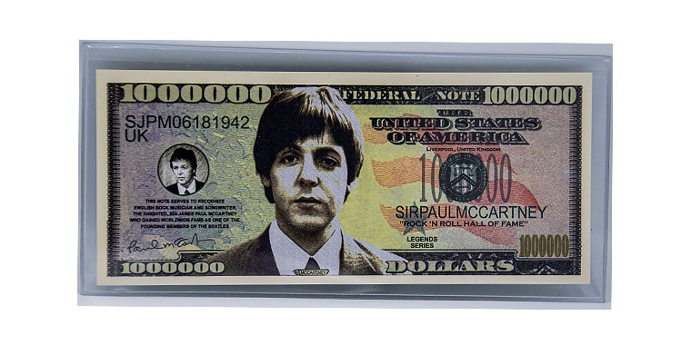 Paul McCartney Novelty Million Dollar  Bill