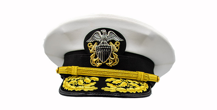 Peak Cap US Navy  Dress Whites Admiral Hat