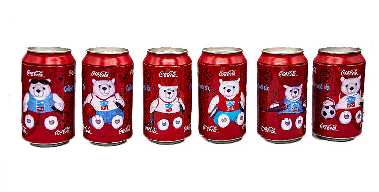 Coca Cola Bears in a Coke Can Set of 6 Cans 2004 Olympics