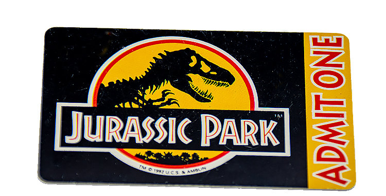 Jurassic Park Admitance Ticket Credit Card Size