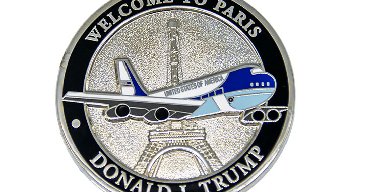 Challenge Coin President Trump Welcome to Paris