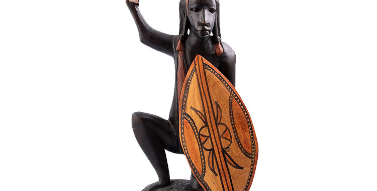 Indigenous Art African Man with Spear and shield