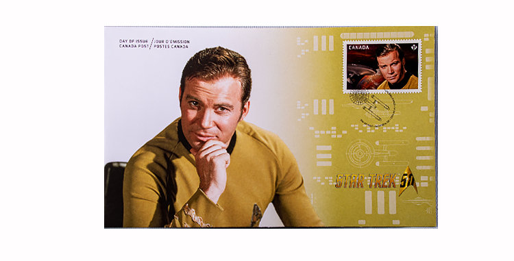 Stamp Canada Post Star Trek First Day Cover Captain Kirk