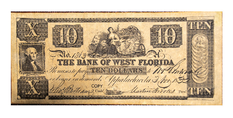 Bank of West Florida  10 Dollars Note Replica