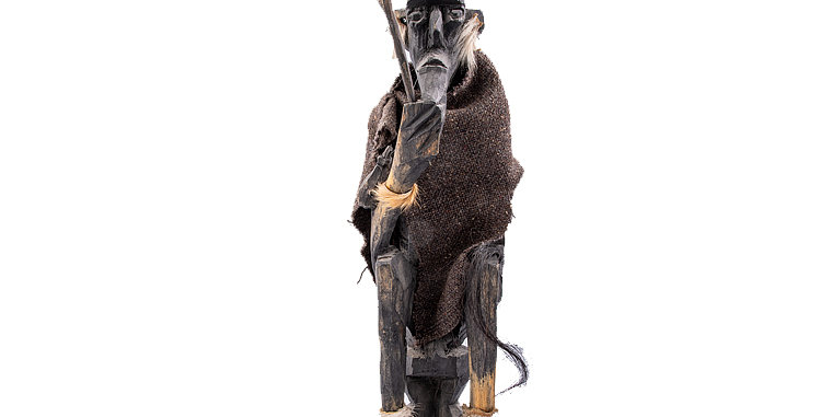 Indigenous Art African Old Man with Stick