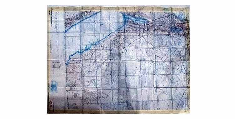 British RAF Silk Escape Map 1960s  Middle East