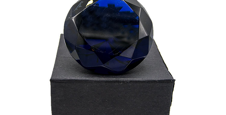 Rosenthal Diamond Style Crystal Paper Weight Blue Color