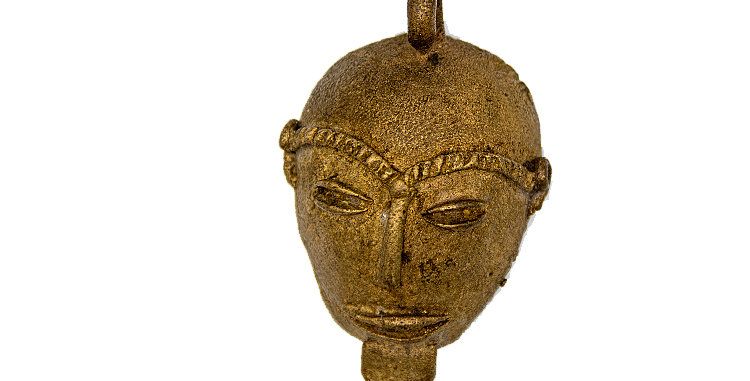 Indigenous Art Native Mask Brass or Bronze Small Pendant Ornament