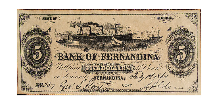 Bank of Fernandina 5 Dollars Note Replica