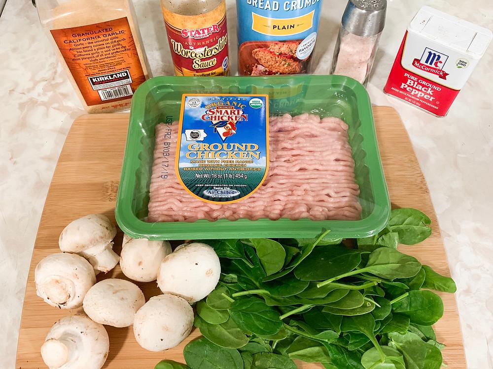 Ingredients to make hidden veggie mushroom meatballs