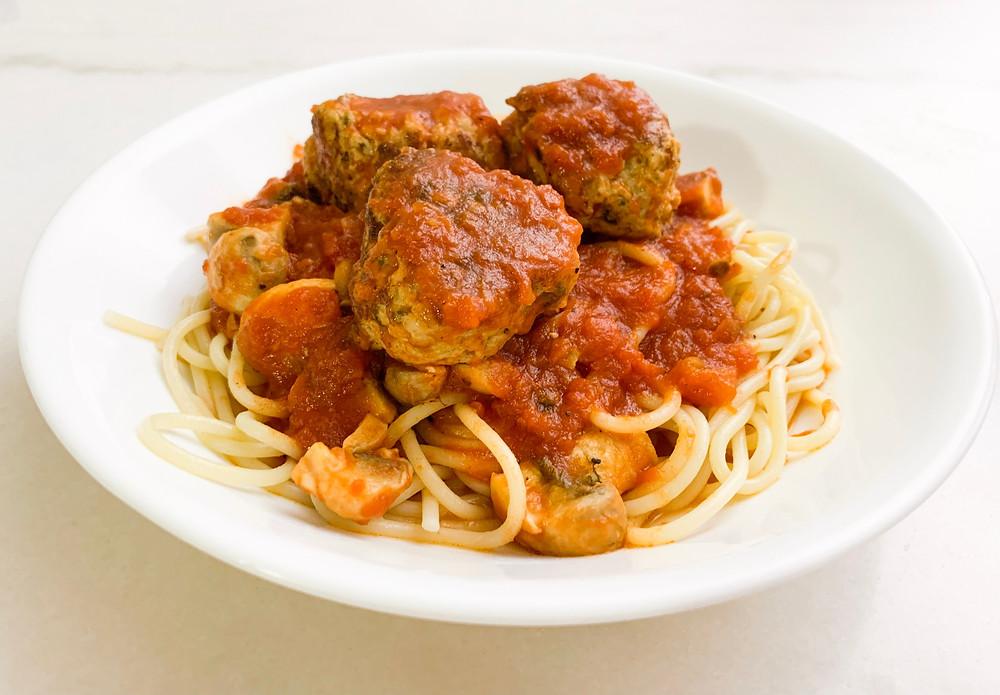 Spaghetti and meatballs with hidden veggies
