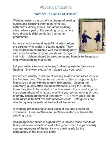 Wedding Ushers...this explains it all.