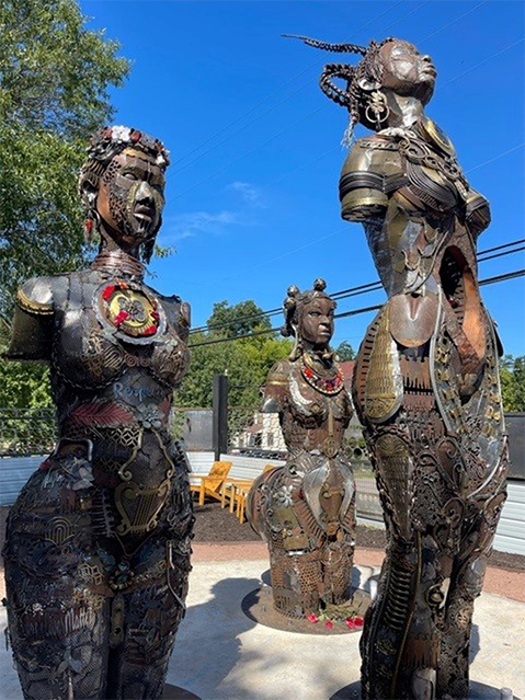 The statues were designed and constructed by Montgomery, Ala. artist and advocate Michelle Browder using discarded items, including some of the medical devices invented after experiments on these women. Jill Friedman