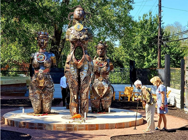 The statues of Anarcha, Lucy and Betsey at the More Up Campus on Mildred Street in Montgomery. The campus is one block from the Equal Justice Initiative's National Memorial for Peace and Justice. Jill Friedman